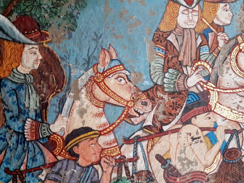 French gentlemen ride out with their Siamese bearers in a Thai temple mural