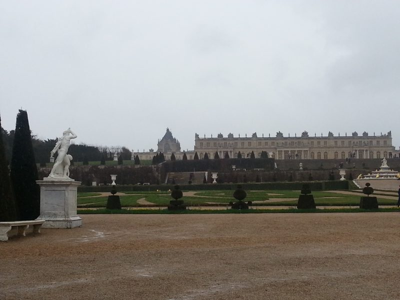 Versailles from the garden on a rainy day.