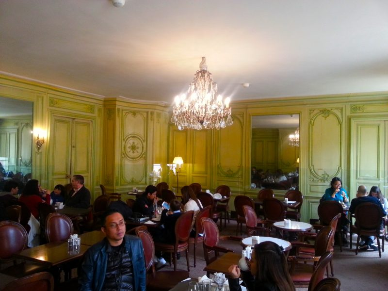 The Angelina dining room. The furniture is all modern, but note the original boiseries.