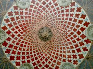 Frescoed ceiling of the garden vestibule in the Palacio do Freixo.