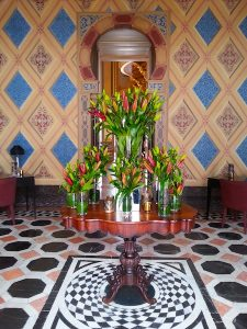 Flower arrangement in the Moorish lobby. Reception is to the left.