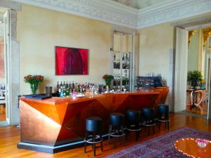 The indoor bar with its striking copper counter.