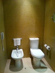 The toilet area in the bathroom.