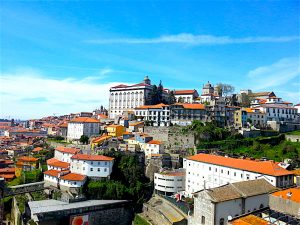 Porto's historic heart with Porto's cathedral and archbishop's palace on the hilltop.