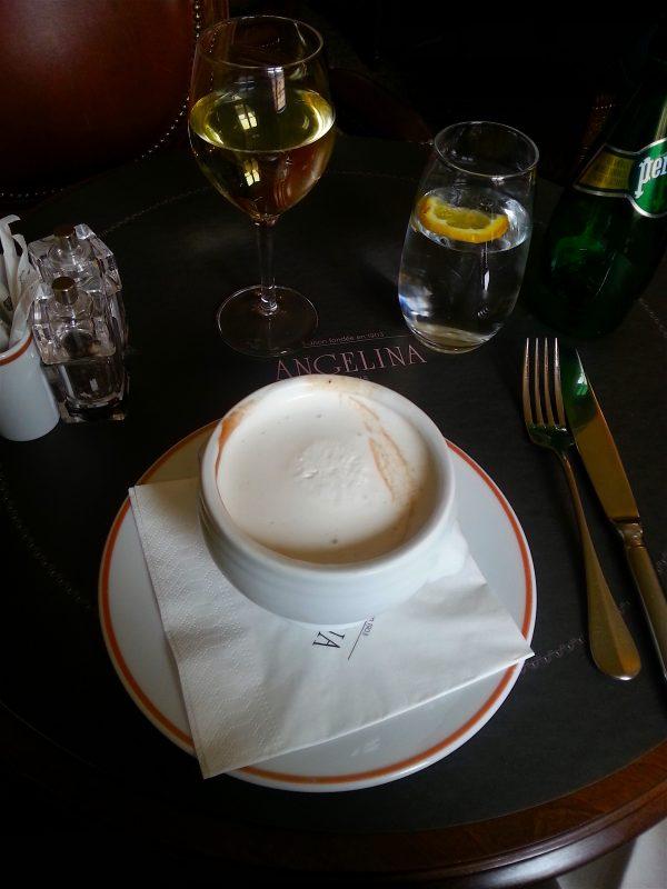 Chestnut and truffle soup. Looks like hot chocolate, no?