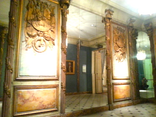 The paneling of the vanished Cafe Militaire preserved in the Carnavalet Museum.