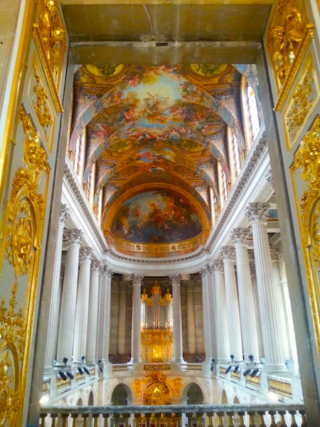 The interior of the chapel at the Château de Versailles.