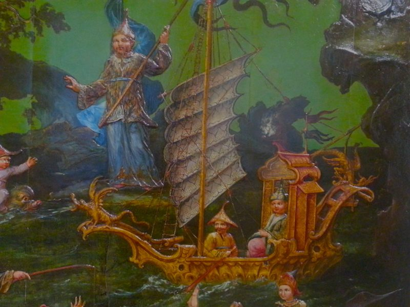 A detail from the Water panel showing a fanciful rendering of a Chinese boat.