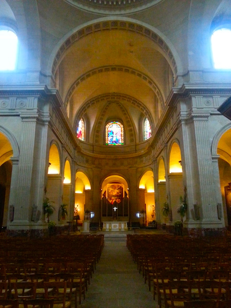 The interior of the Church of Our Lady (Notre-Dame) in Versailles.