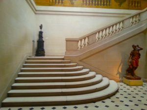 Marble steps of the Escalier de Luynes in the Carnavalet Museum.