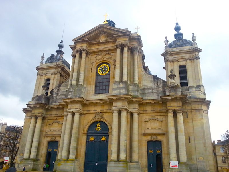 The facade of the Cathedral of St. Louis in Versailles.