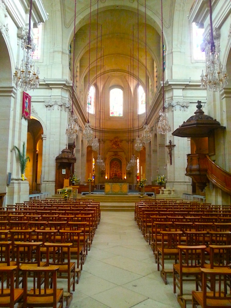 The interior of the Cathedral of St. Louis in Versailles.
