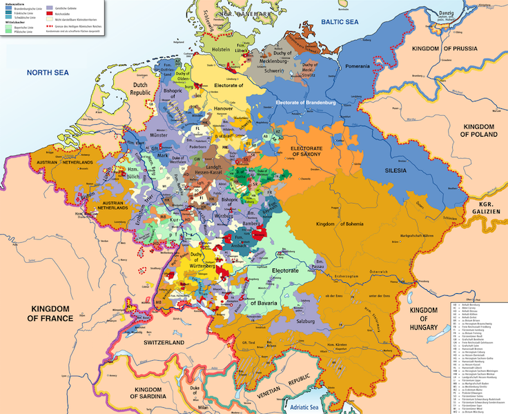 The Holy Roman Empire in 1789. Credit: Wikipedia.