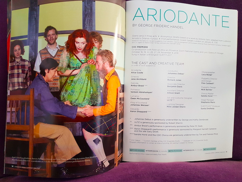The program for Ariodante.