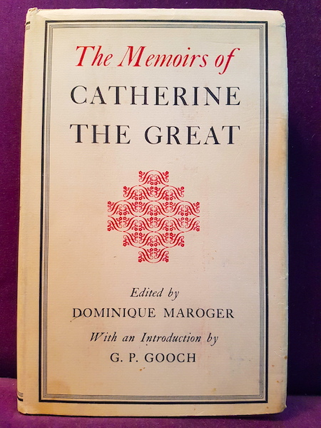 Cover of Catherine the Great's memoirs, published in Canada by Hamish Hamilton, Ltd, in 1955.
