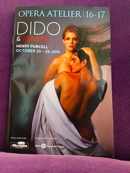 The program for Dido and Aeneas.