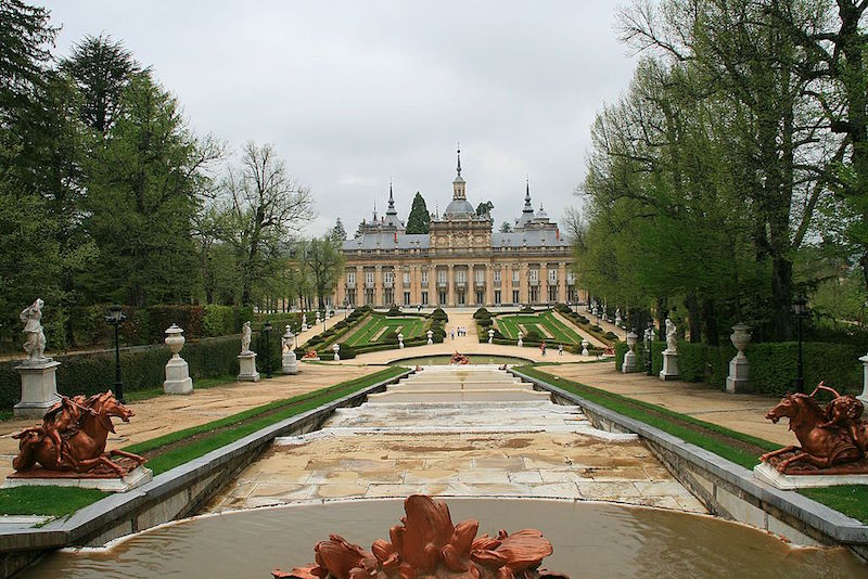 The palace of La Granja de San Ildefonso between Madrid and Segovia.