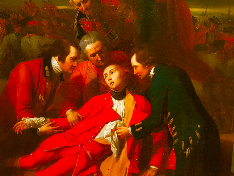 The death of Wolfe at the Battle of the Plains of Abraham in 1759. Detail from a painting in the Royal Ontario Museum (ROM).