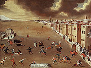 Skaters on the Venetian lagoon in a contemporary painting by Gabriele Bella.