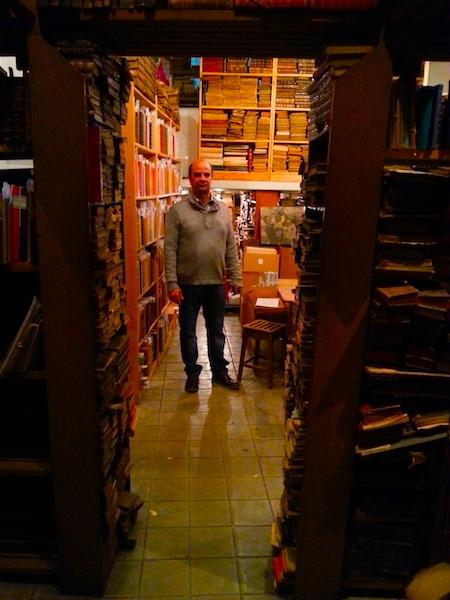 Moreira da Costa in the store room of his bookshop.