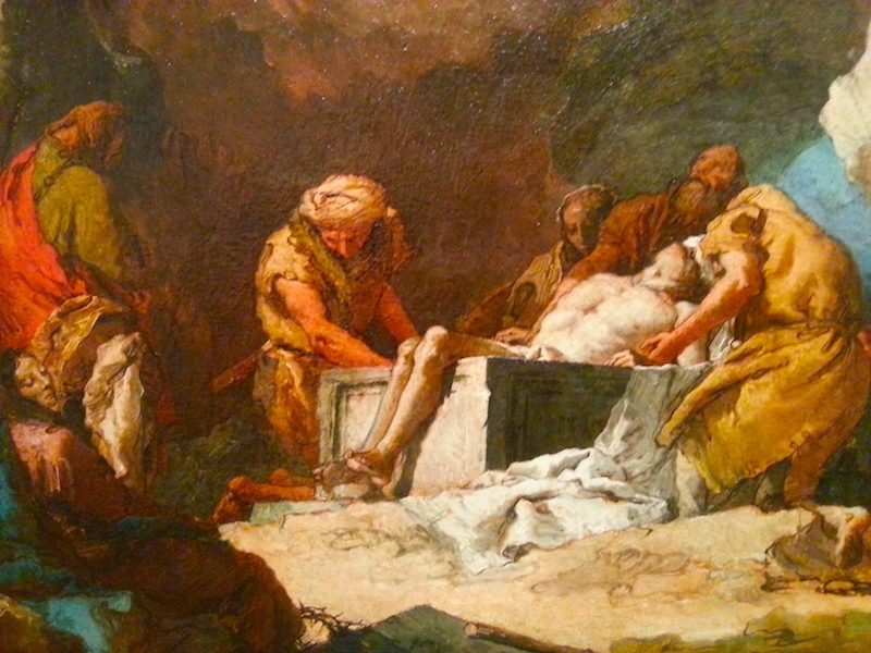 A detail of Tiepolo's The Entombment, 1765-1770.