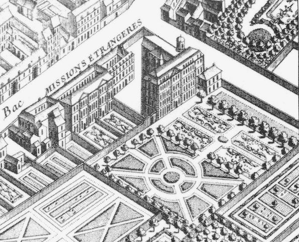 A detail from a map of Paris by Turgot showing the MEP complex. Credit: Wikipedia.
