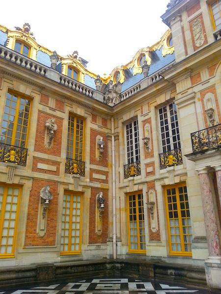 The southern corner of the Cour de Marbre at the Chateau de Versailles.