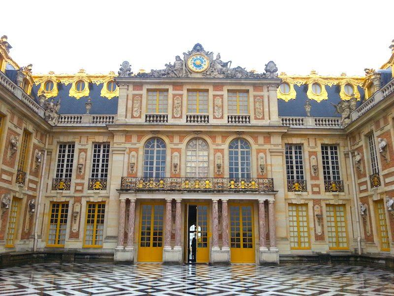 The Cour de Marbre facade of the Chateau de Versailles.