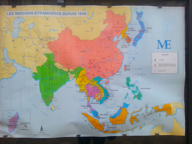 Map of MEP mission stations in East and Southeast Asia.