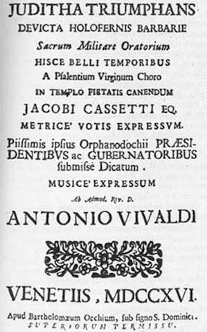The title page of Vivaldi's Juditha Triumphans, or Judith Triumphant.