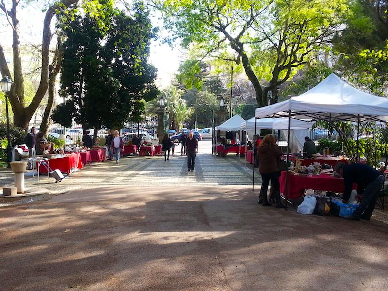 Weekend vintage and antiques market in the Jardim da Estrela.