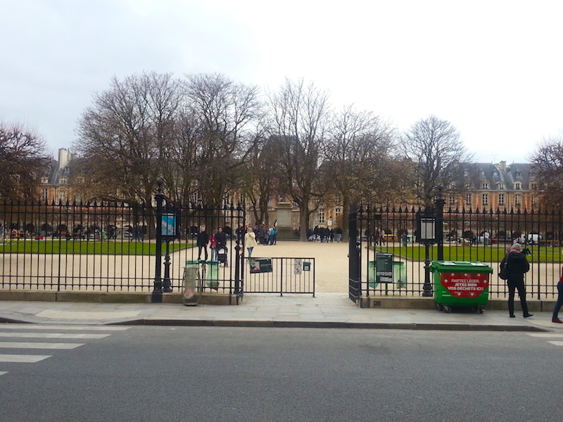 One of the gates into the park in the centre of the Place des Vosges.