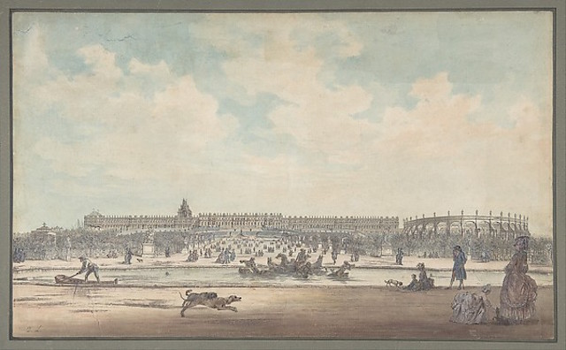 """""""The Château de Versailles Seen from the Gardens"""" by Louis Nicolas de Lespinasse, called the Chevalier de Lespinasse (French, Pouilly-sur-Loire 1734–1808 Paris), Formerly attributed to Anonymous, French, 18th century via The Metropolitan Museum of Art is licensed under CC0 1.0"""