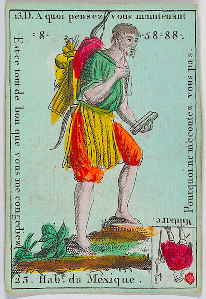 """Hab.t du Méxique from playing cards ""Jeu d'Or"""" by Anonymous, French, 18th century via The Metropolitan Museum of Art is licensed under CC0 1.0"
