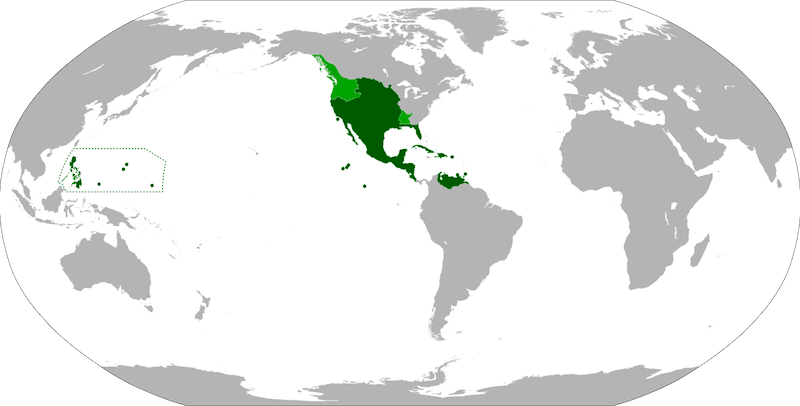 Map of New Spain in 1795. By Eddo - Own workFile:BlankMap-World-90W.svgFile:New Spain.pngFile:Nueva España 1795.pngFile:Spanish Provinces in the Pacific.png, CC BY-SA 3.0, https://commons.wikimedia.org/w/index.php?curid=11435488