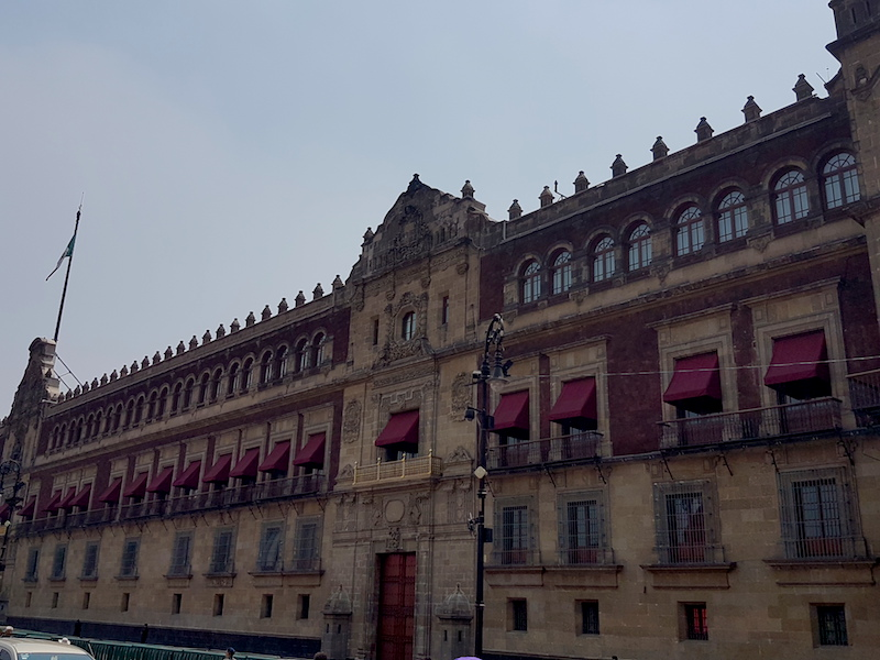 The National Palace in Mexico City, formerly home to the Viceroys of New Spain, photographed in 2017.