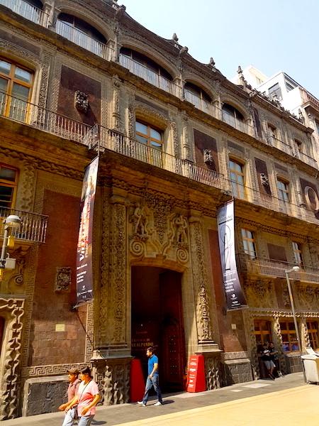 The facade of the Palacio de Iturbide on Madero Street in Mexico City.